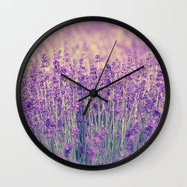 Purple Lavender Fields Wall Clock