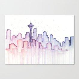 Seattle Skyline Watercolor Canvas Print