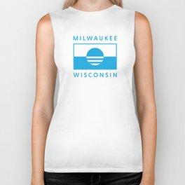 Milwaukee Wisconsin - Cyan - People's Flag of Milwaukee Biker Tank