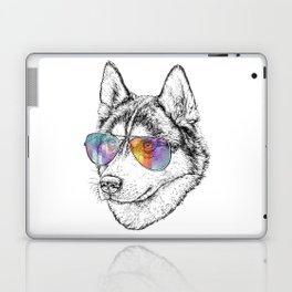 Husky Dog Graphic Art Print. Husky in glasses Laptop & iPad Skin