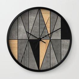 Concrete and Wood Triangles Wall Clock