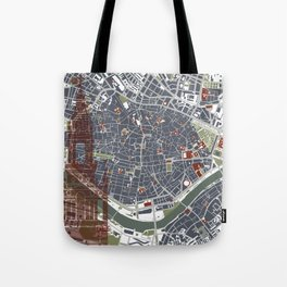 Seville city map engraving Tote Bag
