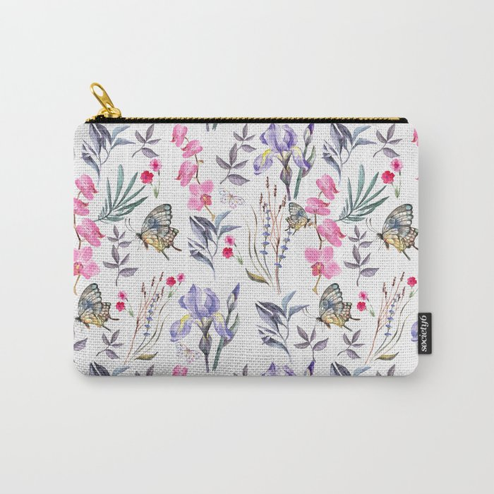 Pink lavender watercolor hand painted orchid floral butterfly Carry-All Pouch