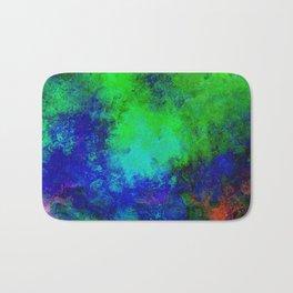 Awaken - Blue, green, abstract, textured painting Bath Mat