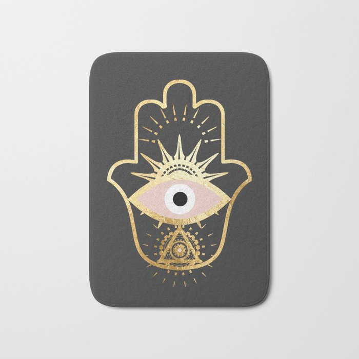 gold foil hamsa hand with blush pink bath mat by sofiahawk society6