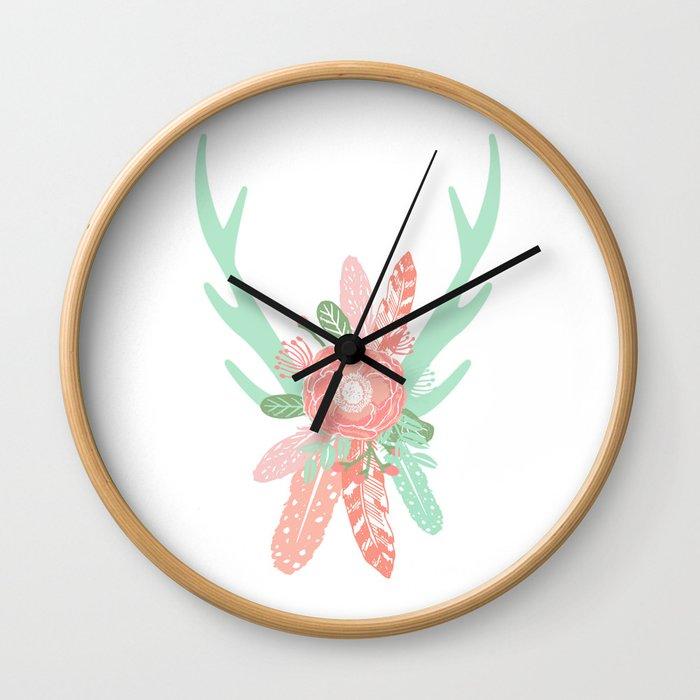 Deer antler florals flower bouquet with antlers minimal boho nursery art decor Wall Clock