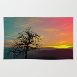 Old tree and colorful sundown panorama | landscape photography Rug