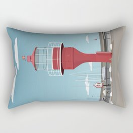 The lighthouse in the harbour in Skanor - light Rectangular Pillow
