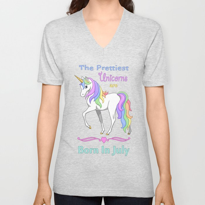 Pretty Rainbow Unicorns Are Born In July Unisex V-Neck