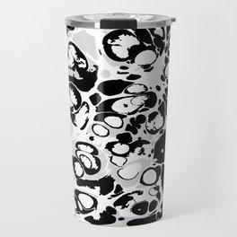 Black white gray ink paint spilled mess splashes platter effect Travel Mug