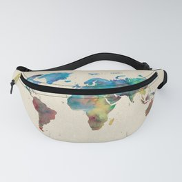 World Map Watercolor Linen Blue Red Yellow Green Fanny Pack
