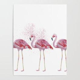 Three Flamingos #society6 Poster