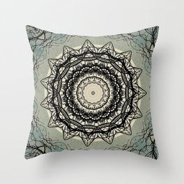 Tree Lace Black Cream Blue Pattern Kaleidoscope A541pt1 Throw Pillow