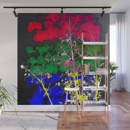 tree branch with leaf and painting texture abstract background in red green blue pink yellow Wall Mural