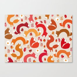 funky foxes Canvas Print