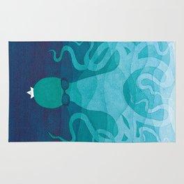 Octopus, sea creature, animals, ocean watercolor teal blue Rug