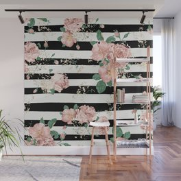 VINTAGE FLORAL ROSES BLACK AND WHITE STRIPES Wall Mural