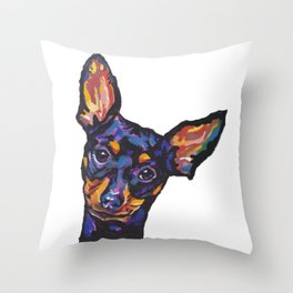 Miniature Pinscher Dog Portrait bright colorful Fun Pop Art Dog Painting by LEA Throw Pillow