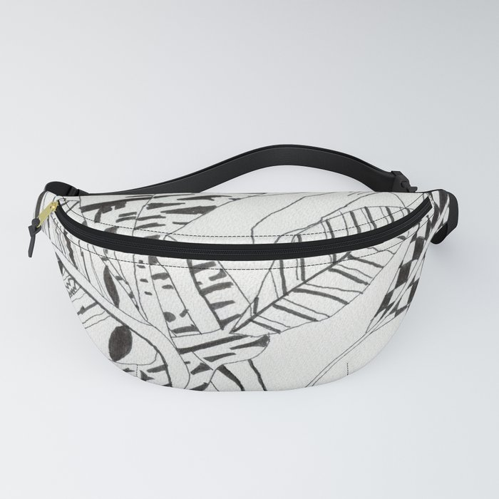 Patterned leaves revisited -line drawing plants Fanny Pack