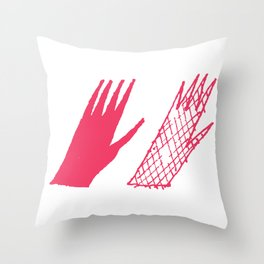 Hand and glove Throw Pillow