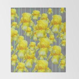 OODLES OF YELLOW IRIS GREY GARDEN ART Throw Blanket