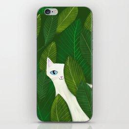 Jungle Cat white cat in leaves artwork by Tascha iPhone Skin