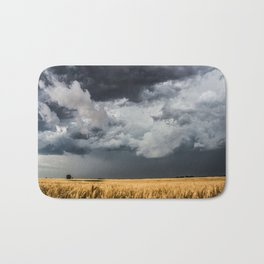 Cotton Candy - Storm Clouds Over Wheat Field in Kansas Bath Mat