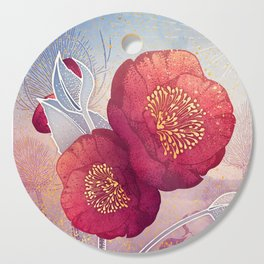 Christmas Roses :: Red Petals, Frosted Leaves Cutting Board