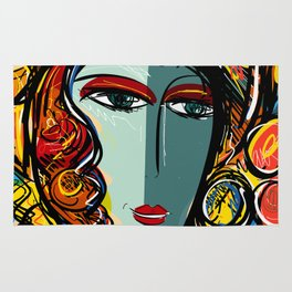 Portrait of a Girl with Hat French Pop Art Expressionism Rug