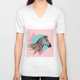 zebra and petunias Unisex V-Neck