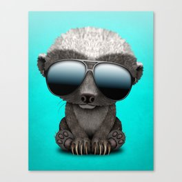 Cute Baby Honey Badger Wearing Sunglasses Canvas Print