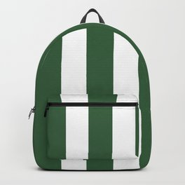 Hunter green - solid color - white vertical lines pattern Backpack