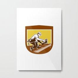 Roofer Roofing Worker Crest Shield Retro Metal Print