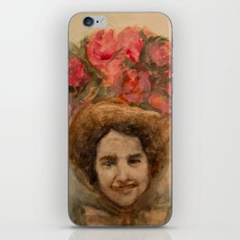 Watercolor Portrait of a Lady in an Easter Bonnet iPhone Skin
