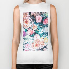 Modern blush pink green watercolor roses floral Biker Tank