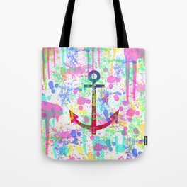 Modern abstract colorful watercolor nautical anchor splatters Tote Bag