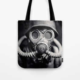 German Solider in a Gas Mask from World War II Tote Bag