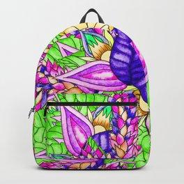 Bright purple green floral pattern waercolor illustration Backpack