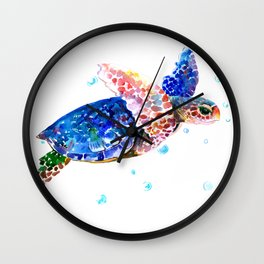 Sea Turtle, blue rainbow Wall Clock