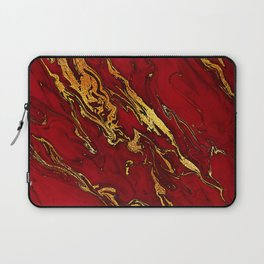 Chic Elegant Fire Red Ombre Glitter Marble Laptop Sleeve