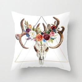 Geometric tribal floral bull skull Throw Pillow