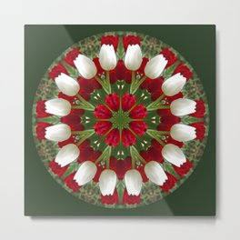 Tulip Kaleidoscope - Red And White Metal Print