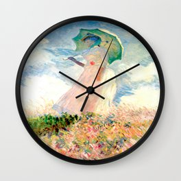 Claude Monet : Woman With A Parasol Wall Clock