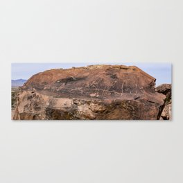 Desert Rock Art Petroglyphs Panoramic Canvas Print