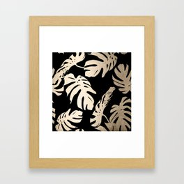 Simply Palm Leaves in White Gold Sands on Midnight Black Framed Art Print