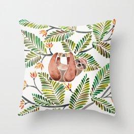 Happy Sloth – Tropical Green Rainforest Throw Pillow