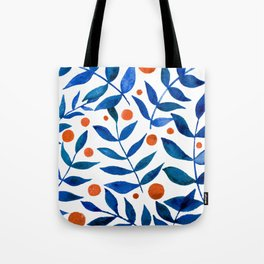 Watercolor berries and branches - blue and orange Tote Bag