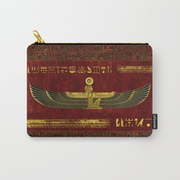 Golden Egyptian God Ornament on red leather Carry-All Pouch