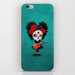 Day of the Dead Girl Playing Bermuda Flag Guitar iPhone Skin