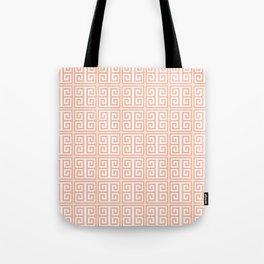 Peach Greek Key Tote Bag